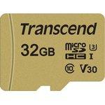 Карта памяти Transcend microSDHC 500S 32GB+ адаптер