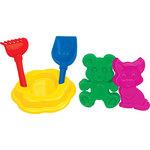 Набор №90: лопатка №5, грабельки №5, формочки (котёнок + медведь), ситечко-цветок большое