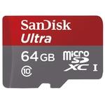 Карта памяти SanDisk Ultra microSDXC 64GB UHS-I/U1 + адаптер [SDSQUNB-064G-GN3MA]