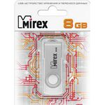 8GB USB Drive Mirex SWIVEL WHITE (13600-FMUSWT08)