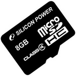 Карта памяти Silicon-Power microSDHC (Class 4) 8 Гб (SP008GBSTH004V10)