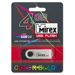 USB Flash Mirex SWIVEL RUBBER BLACK 4GB (13600-FMURUS04)
