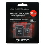 Карта памяти 32GB Qumo QM32GMICSDHC10U1