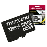 Карта памяти Transcend microSDHC Class 10 32 Гб + SD адаптер (TS32GUSDHC10)