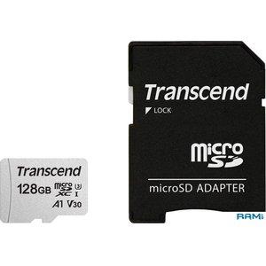 Карта памяти Transcend microSDXC 300S 128GB + адаптер