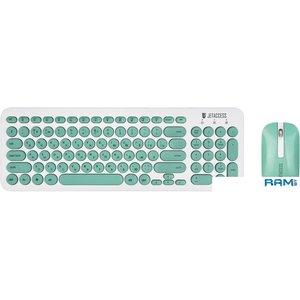 Мышь + клавиатура Jet.A SmartLine KM30 W (белый/бирюзовый)