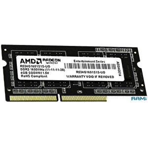 Оперативная память AMD Radeon Entertainment 4GB DDR3 SO-DIMM (R534G1601S1S-UO)