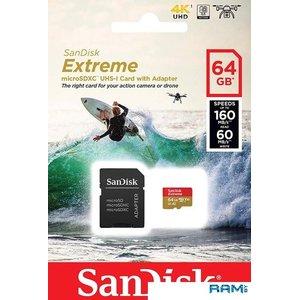 Карта памяти SanDisk Extreme microSDXC SDSQXA2-064G-GN6AA 64GB (с адаптером)