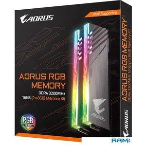 Оперативная память Gigabyte Aorus RGB 2x8GB DDR4 PC4-25600 GP-AR32C16S8K2HU416R