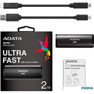 Внешний накопитель A-Data SE760 512GB ASE760-512GU32G2-CBK (черный)