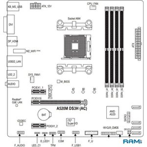 Материнская плата Gigabyte A520M DS3H (rev. 1.0)